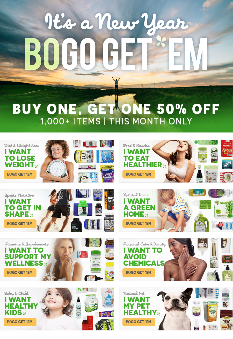 It's A New Year! BOGO Get 'Em! | Buy 1 Get 1 50% Off, 1,000+ Items, This Month Only
